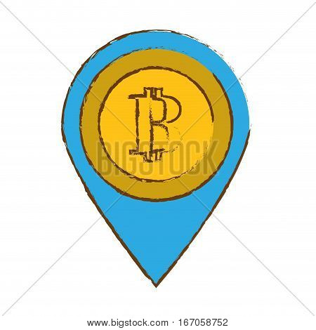 bitcoin image, digital money symbol, vector illustration