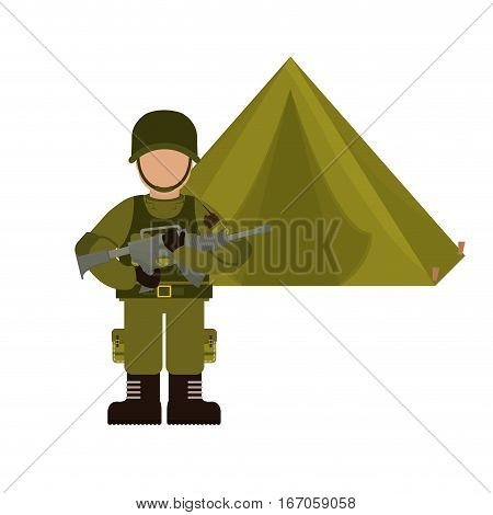 Military with his war team and his camp vector illustration design