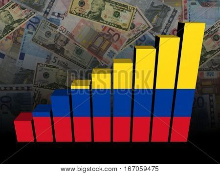 Colombian flag bar chart over dollars and Euros background 3d illustration