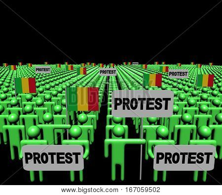 Crowd of people with protest signs and Mali flags 3d illustration