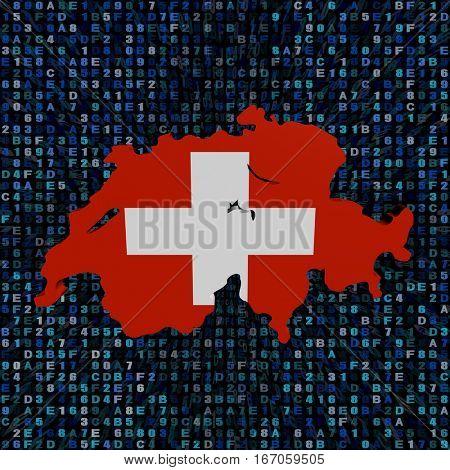 Switzerland map flag on hex code 3d illustration