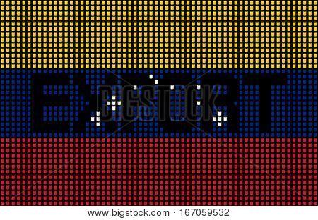 Export text over Venezuelan flag barrels illustration