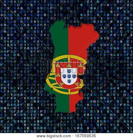 Portugal map flag on hex code 3d illustration