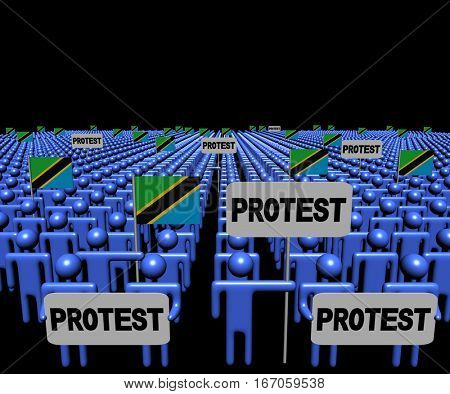 Crowd of people with protest signs and Tanzania flags 3d illustration