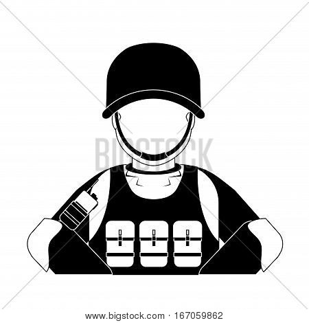 High ranking military man with his team vector illustration design