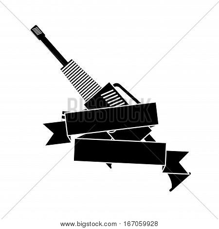 War rifle with tape for soldiers navy tool, vector illustration