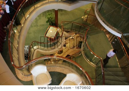 Looking Down The Stair Well Of A Cruise Ship