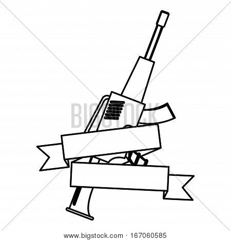 War rifle figure with tape for soldiers navy tool, vector illustration
