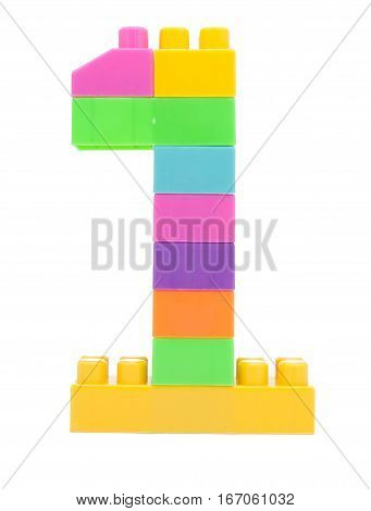 Colorful Plastic Blocks Forming The Number One
