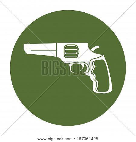 Pistol badge for civil defense, military equipment vector illustration