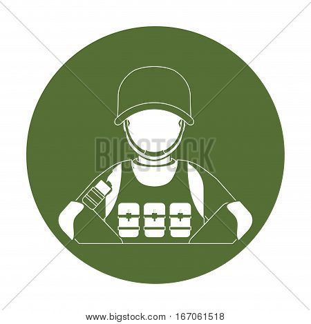 Badge ranking military man with his team, vector illustration design