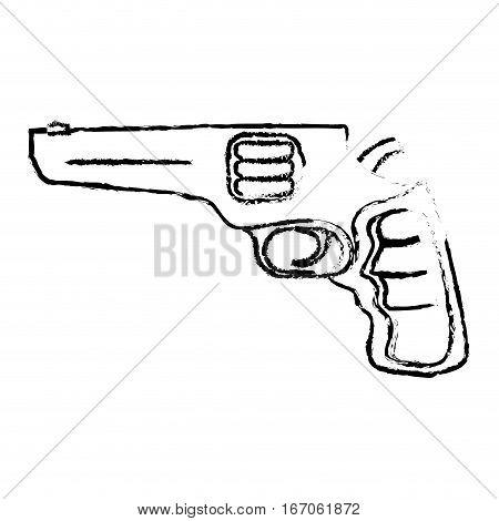 Pistol silhouette for civil defense, military equipment vector illustration