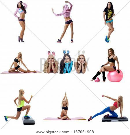 Young sexy women doing fitness running, jumping and posing in bunny ears and fitball collage