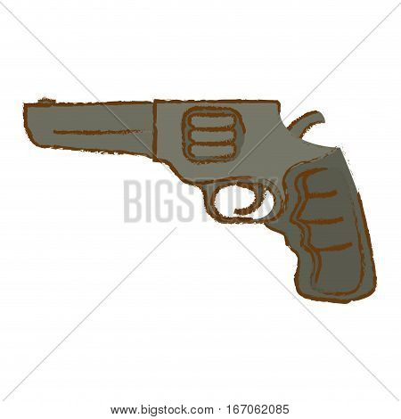 Pistol of gray color for civil defense, military equipment vector illustration