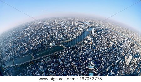 Little planet.  View of Tokyo city from the tallest tower of Japan.   Sumida. Tokyo.  Japan.