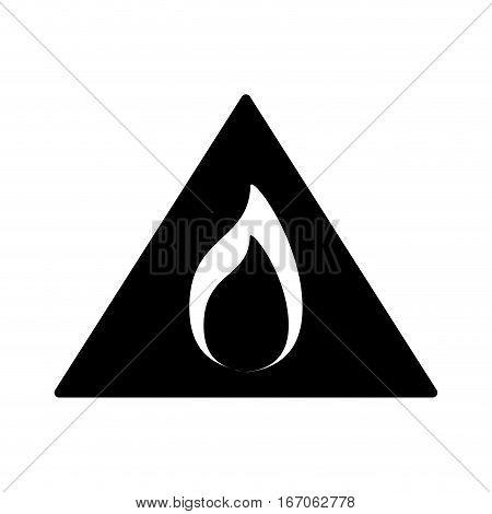 Black flammable warning symbol image, vector illustration
