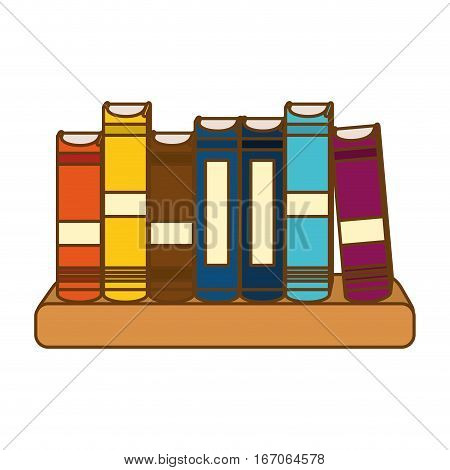 Color educational books on a ledge image, vector illustration