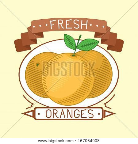 Fresh tangerines oranges badge vector illustration. Mandarin tangerine diet organic mandarine piece. Healthy food fresh juicy freshness tropical citrus.