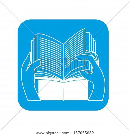 Contour person reed the book icon, vector illustration