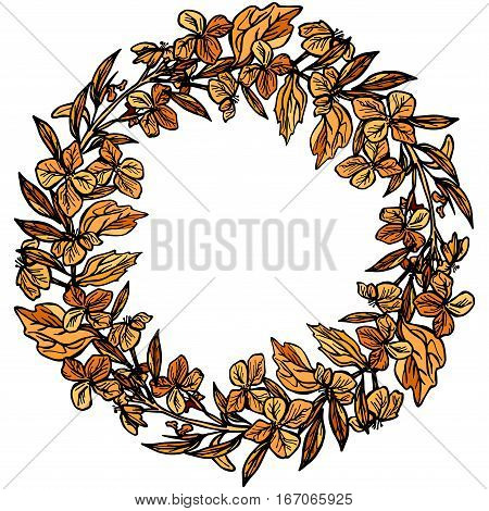 autumn round frame wreath of branches and flowers leaves and flowers sketch orange and black on white background. Vector illustration