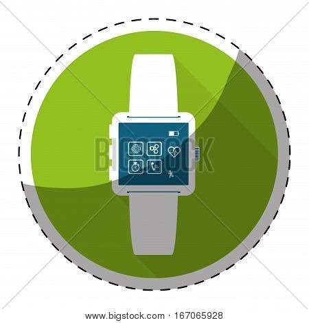 Green symbol smartwatch with aplications icon image, vector illustration
