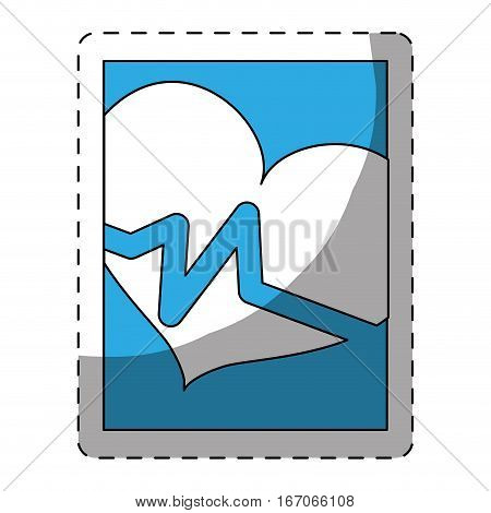 Blue smarphone heart cardiology icon image, vector illustration