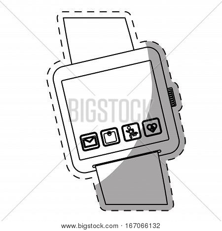 White symbol smartwatch with aplications icon image, vector illustration