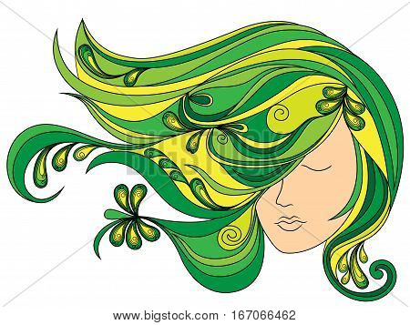 Female Head With Flowing Green Hair