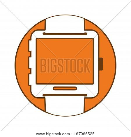 Orange symbol smartwatch button image icon, vector illustration