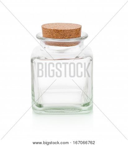 Close up of small clear glass bottle with cork stopper isolated on white background.