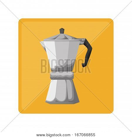 Silver metail moka pot icon, vector illustration image