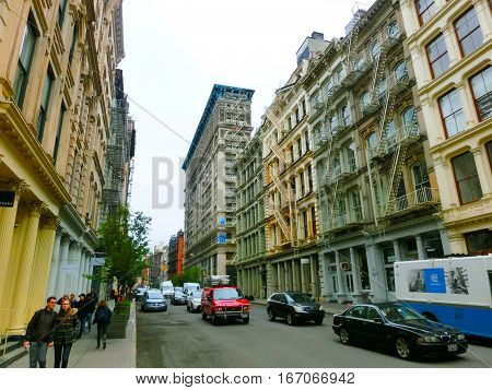 New York City United States of America - May 02 2016: The old residential buildings with fire escape stairs in Soho New York City
