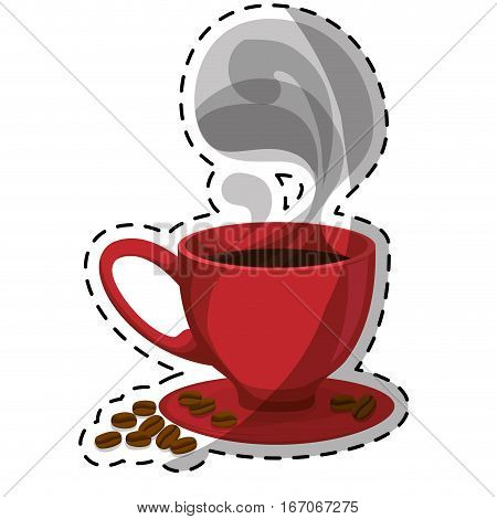 Red small cup with steam, saucer and coffee grains