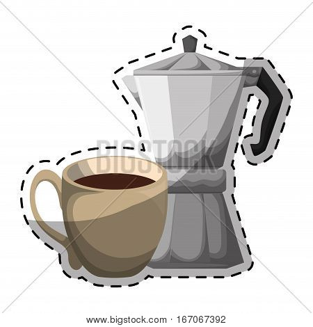 Color moka pot with coffee cup, vector illustration image