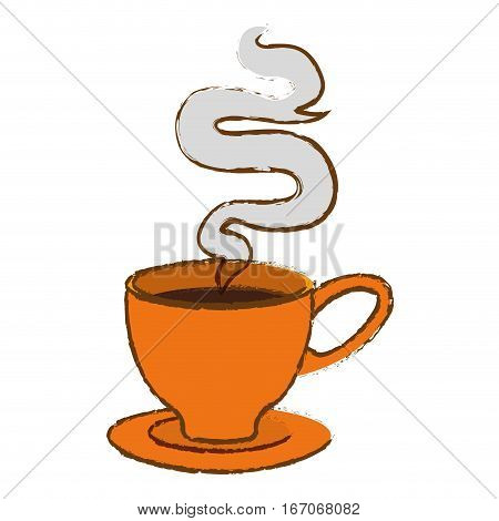 Color small cup with steam design icon, vector illustration