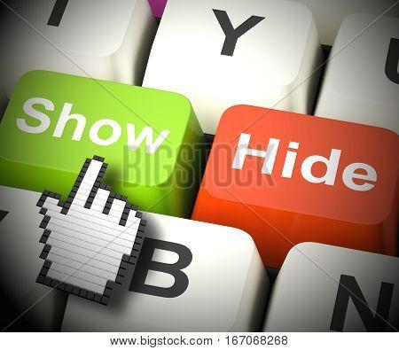Show Hide Computer Keys Mean On Display 3D Rendering