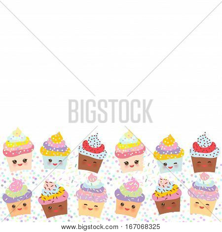 Banner template for your text Card design with Cupcake Kawaii funny muzzle with pink cheeks and winking eyes pastel colors on white background. Vector illustration