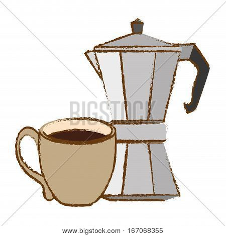Silver moka pot with coffee cup, vector illustration image
