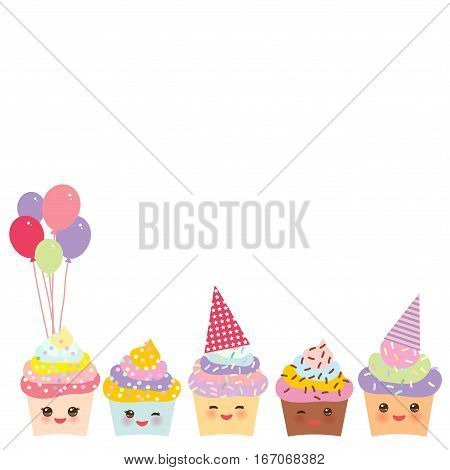 Happy Birthday Card design with Cupcake Kawaii funny muzzle with pink cheeks and winking eyes pastel colors on white background. Vector illustration