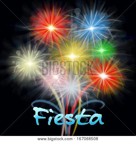 Fiesta Fireworks Means Carnival Pyrotechnics Exploding Firecrackers