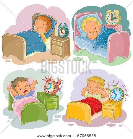 Set of vector clip art illustration babies sleep, morning awakening, isolated on white