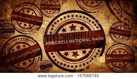 Amboseli national park, vintage stamp on paper background