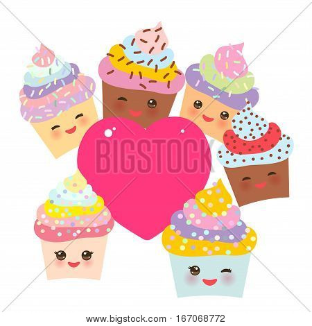Card design with Cupcake Kawaii funny muzzle with pink cheeks winking eyes and pink heart for your text pastel colors on white background. Vector illustration