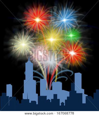 Fireworks Over City Means Festive Party Pyrotechnics