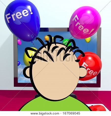 Balloons With Free Coming Through Computer  3D Rendering
