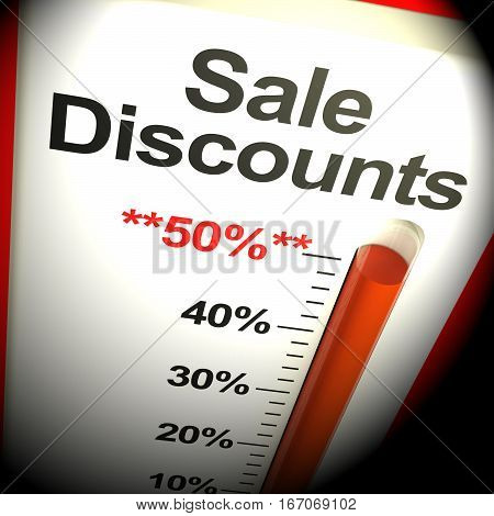 Fifty Percent Sale Discounts Showing Bargain 3D Rendering