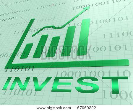 Invest Graph Increasing Shows Portfolio Return 3D Rendering