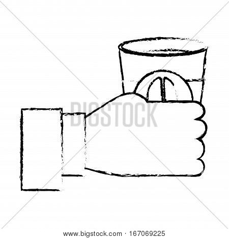 Contour coffee cuppa in the hand icon, vector illustration image