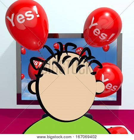 Yes Balloons From A Computer 3D Rendering