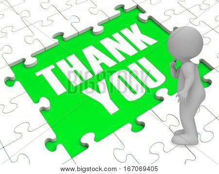 Thank You Puzzle Showing Thankfulness 3D Rendering